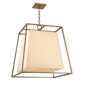 Kyle Aged Brass Six-Light Pendant with Cream Shade