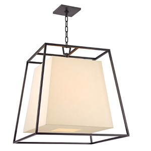 Kyle Old Bronze Six-Light Pendant with Cream Shade