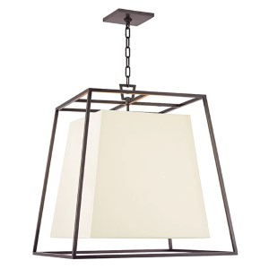 Kyle Old Bronze Four-Light Pendant with White Faux Silk Shade