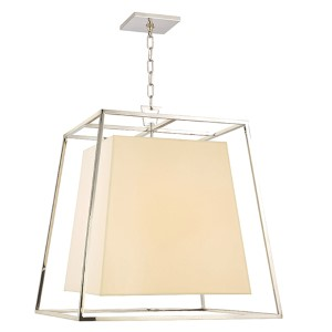 Kyle Polished Nickel Six-Light Pendant with Cream Shade
