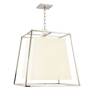 Kyle Polished Nickel Four-Light Pendant with White Faux Silk Shade