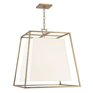 Kyle Aged Brass Four-Light Pendant with White Faux Silk Shade