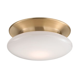 Irvington Satin Brass Twelve-Inch LED Flushmount