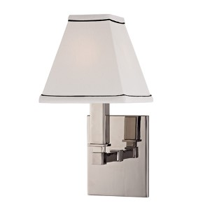 Kingston Polished Nickel One-Light Wall Sconce with White Shade