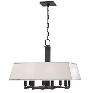 Kingston Old Bronze Eight-Light Chandelier with White Shade