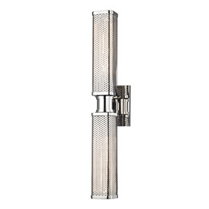 Gibbs Polished Nickel Two-Light Wall Sconce