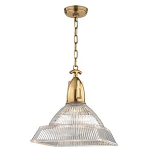 Langdon Aged Brass Fourteen-Inch Pendant with Clear Glass