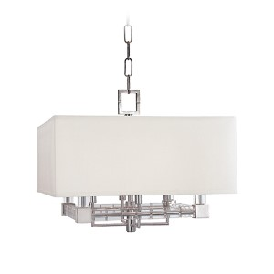Alpine Polished Nickel Four-Light Pendant with Off-White Faux Silk Shade