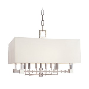 Alpine Polished Nickel Six-Light Chandelier with Off-White Faux Silk Shade