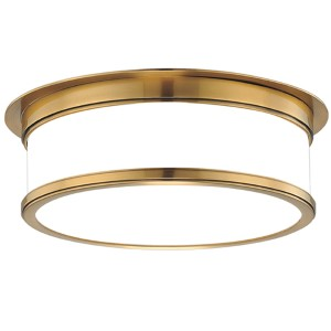 Geneva Aged Brass Three-Light Flush Mount