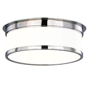 Geneva Polished Chrome Three-Light Flush Mount with Glossy Opal Glass