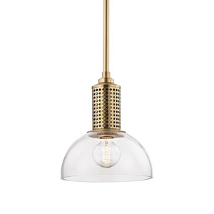 Halcyon Aged Brass 10-Inch One-Light Pendant