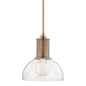 Halcyon Aged Brass 14-Inch One-Light Pendant