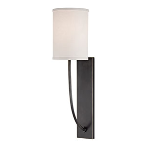 Colton Old Bronze One-Light Energy Star Wall Sconce with Linen Shade
