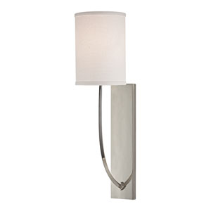 Colton Polished Nickel One-Light Energy Star Wall Sconce with Linen Shade