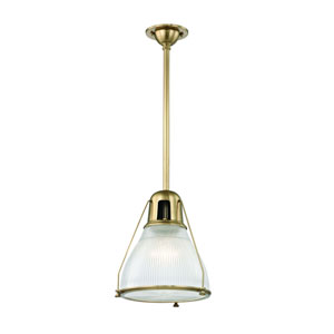 Haverhill Aged Brass 12-Inch One-Light Pendant with Ribbed Glass