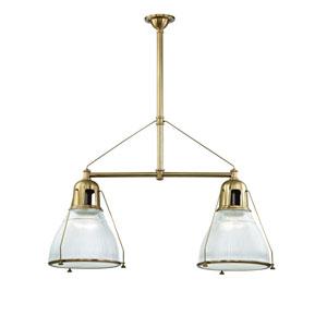Haverhill Aged Brass Two-Light Island Pendant