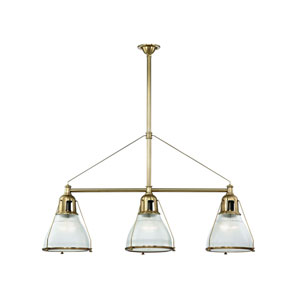 Haverhill Aged Brass Three-Light Island Pendant