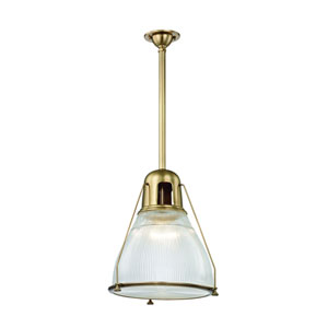Haverhill Aged Brass 17-Inch One-Light Pendant with Ribbed Glass