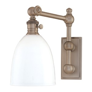 Roslyn Antique Nickel Swing Arm Wall Sconce with Opal Glass Shade