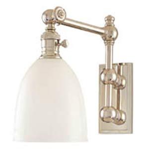 Roslyn Polished Nickel Swing Arm Wall Sconce with Opal Glass Shade