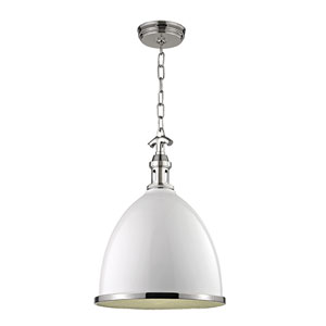 Viceroy White with Polished Nickel Thirteen-Inch Mini Pendant