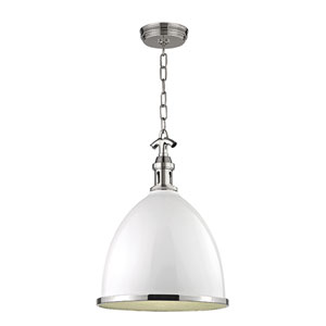 Viceroy White with Polished Nickel Seventeen-Inch Mini Pendant