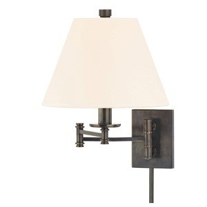 Claremont Old Bronze Wall Sconce with White Faux Silk Shade