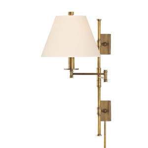 Claremont Aged Brass One-Light 25-Inch Wall Sconce with Cream Shade