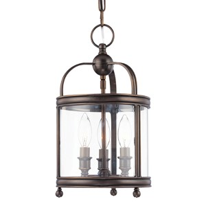 Larchmont Distressed Bronze Three-Light Mini Pendant