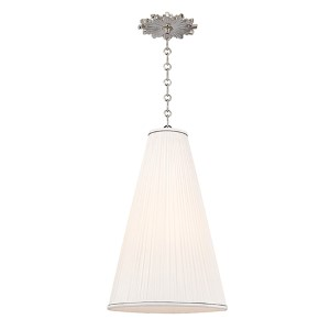 Blake Polished Nickel One-Light 14 Inch Diameter Pendant with Natural Shade