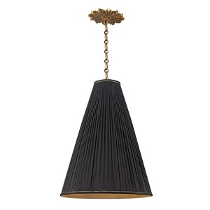 Blake Aged Brass One-Light 18 Inch Diameter Pendant with Black Shade