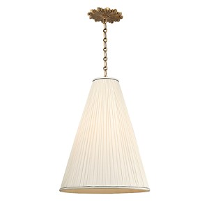 Blake Aged Brass One-Light 18 Inch Diameter Pendant with Natural Shade