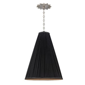 Blake Polished Nickel One-Light 18 Inch Diameter Pendant with Black Shade
