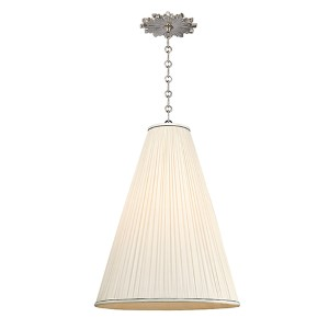 Blake Polished Nickel One-Light 18 Inch Diameter Pendant with Natural Shade