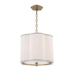Sweeny Aged Brass Three-Light Pendant with White Shade