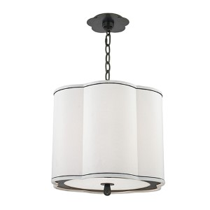 Sweeny Old Bronze Three-Light Pendant with White Shade