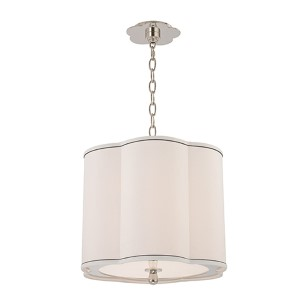 Sweeny Polished Nickel Three-Light Pendant with White Shade