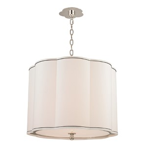 Sweeny Polished Nickel Four-Light Pendant with White Shade