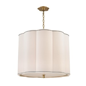 Sweeny Aged Brass Five-Light Pendant with White Shade