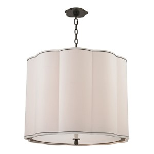 Sweeny Old Bronze Five-Light Pendant with White Shade