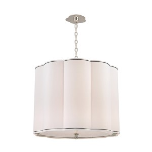 Sweeny Polished Nickel Five-Light Pendant with White Shade