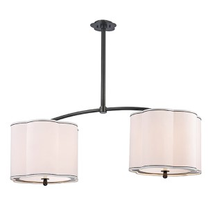 Sweeny Old Bronze Six-Light Island Light with White Shade