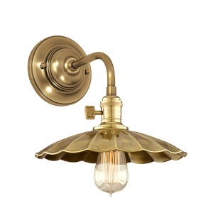 Heirloom Polished Nickel One-Light Small Wall Sconce with Scalloped Shade