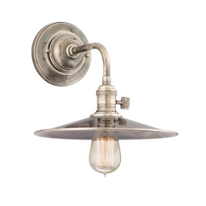 Heirloom Historic Nickel One-Light Sconce with Small Straight Metal
