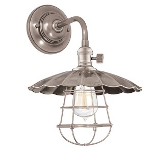 Heirloom Historic Nickel One-Light Small Wall Sconce with Scalloped Shade and Wire Guard