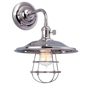 Heirloom Polished Nickel One-Light Sconce with Small Flared Metal