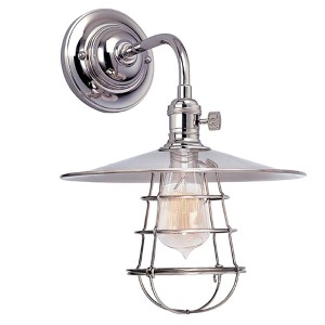 Heirloom Polished Nickel One-Light Small Wall Sconce with Flat Metal Shade and Wire Guard