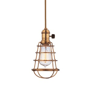 Heirloom Aged Brass One-Light 5.5-Foot Cord Mini Pendant with Wire Guard