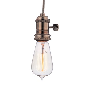 Heirloom Historic Nickel One-Light 5.5-Foot Cord Mini Pendant